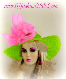 Lime Green Pink Formal Wedding Designer Wide Brim Hat Ladies Hats EW21