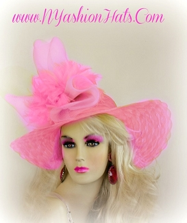 Pink Kentucky Derby Hat With Feathers Ladies Hats NYFashionHats 3321