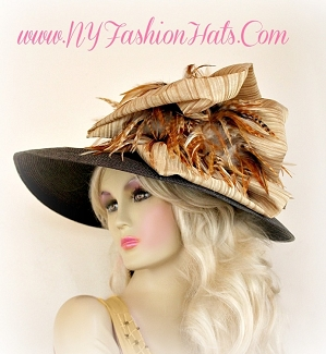 Ladies Brown Tan Beige Leopard Tiger Feather Designer Hat T445 Hats