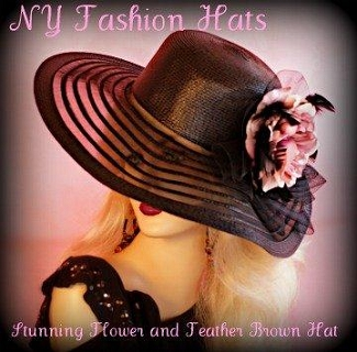 Brown Black Ivory Gold Ladies Designer Hat With A Mauve Pink Flower 7