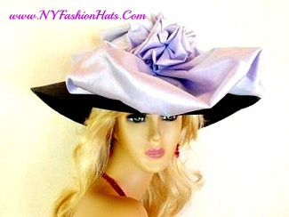 Brown Light Purple Lavender Wide Brim Dress Hat Ladies Church Hats 7B