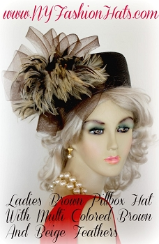 Brown Beige Tiger Feather Pillbox Hat For Women, NY Fashion Hats