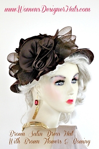 Brown Satin Wide Brim Designer Church Hat Dress Hats For Women