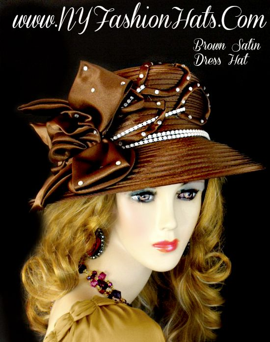 Ladies Brown Satin Designer Dress Hat For Women. This Special Occasion Hat 42b89a42ec7