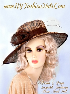 Ladies Brown Beige Sinamay Straw Designer Dress Hat NY Fashion Hats