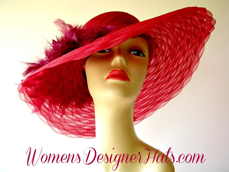 Ladies Burgundy Wide Brim Designer Dress Hat With Burgundy Feathers. This  Formal Hat Is Suited For Weddings ad419c96761