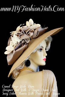Kentucky Derby Hats Camel Beige Velvet Flowers Hat NY Fashion Hats