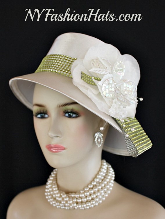 7564a442398 Women s Ivory Or Very Soft Champagne Beige Satin Abstract Brimmed Fashion  Designer Haute Couture Hat. This Elegant Custom Made Fashion Hat Is Trimmed  With ...