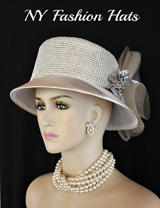 Champagne Beige Metallic Silver Designer Wedding Hat Rhinestones, Church Kentucky Derby Hats
