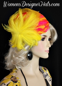 Cocktail Hat Lemon Yellow Hot Pink Flapper, Women's Designer Hats