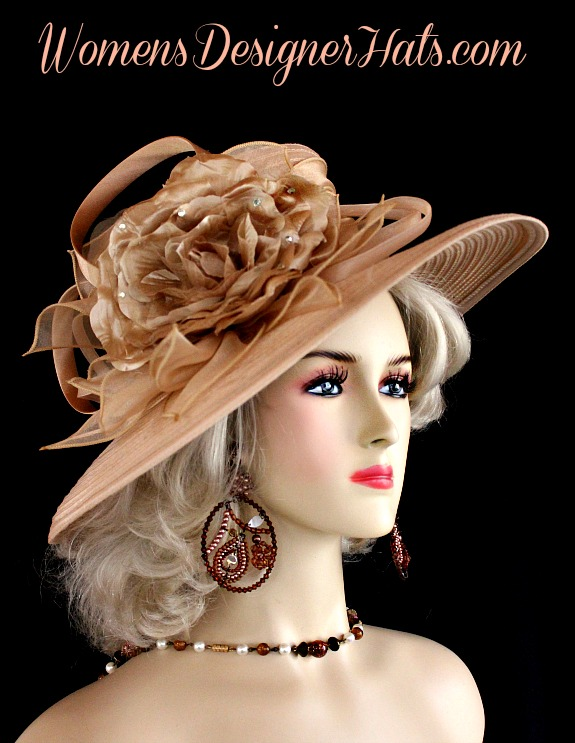 Ladies Coffee Beige Custom Made Wide Brimmed Satin Designer Fashion Church  Hat. This Dress Hat Is Embellished With Satin Bowing 21e2ec5386bf