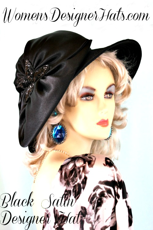 Ladies Black Satin Designer Fashion Dress Hat. This elegant dress hat is  suited for Thoroughbred horse racing track events 6448ad07fad