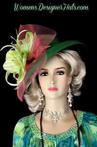 Emerald Lime Green Pink Lilie Flower Kentucky Derby Hat Designer Hats