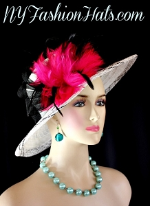 White Black Hot Pink Kentucky Derby Hat Women's Wedding Church Hats