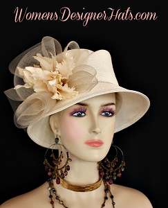 Ladies Ivory Kentucky Derby Hat Orchids Designer Women's Fashion Hats