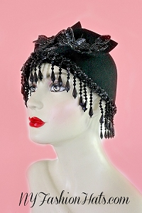 Old Hollywood Black Wool Flapper Art Deco Celebrity Hat Headpiece Hats