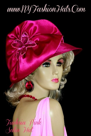 Women's Magenta Hot Pink Satin Designer Dress Hat Fashion Hats 334H