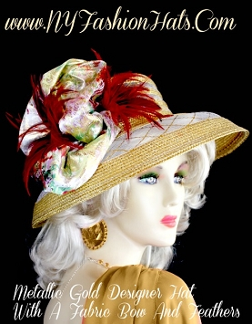 Women's Metallic Gold Designer Dress Hat For Church Or Holidays