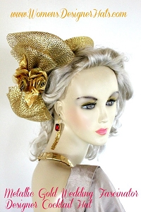 Gold Cocktail Hat Wedding Fasinator Millinery Custom Headpiece Hats