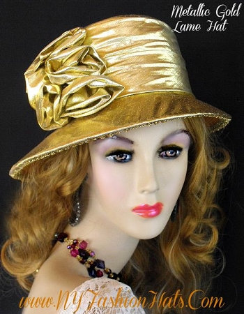 Metallic Silver Or Gold Designer Dress Hat Women's Church Hats B32