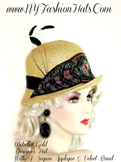 Metallic Gold Cloche Beaded Designer Dress Hat, NY Fashion Hats