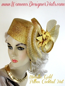 Metallic Gold Cocktail Hat For Women, Pillbox Hats, Dress Hats