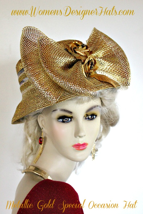 b32143ca09b Women s Metallic Gold Designer Brim Fashion Hat With A Large Bow And Roses.  This Women s Hat Is Suited For Cocktail Parties