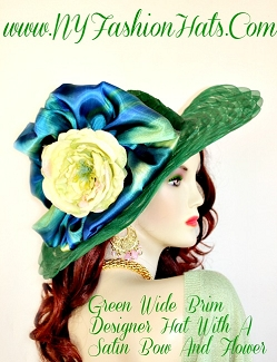 Kentucky Derby Hats Emerald Hunter Lime Yellow Hat NY Fashion Hats