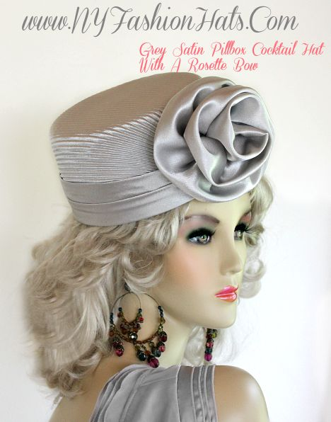 Ladies Silver Gray Satin Pillbox Dress Hat Women&39s Cocktail Hats P72