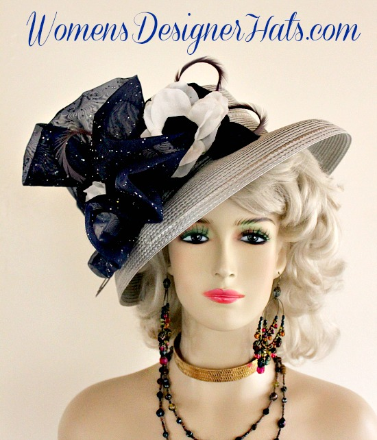 Silver Grey Navy Blue And White Special Occasion Dress Wedding High Fashion  Hat For Women. This Designer Hat Is Trimmed With A Sheer Navy Blue Organza  Bow ... 2ad3a8819d0