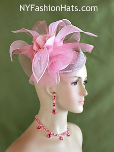 Grey Pink Sinamay Straw Pillbox Cocktail Hat Wedding Fascinator, Designer Fashion Dress Hats