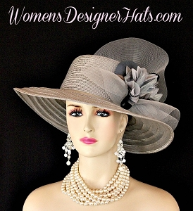Silver Grey Wide Brim Designer Fashion Church Bespoke Couture Hat Wedding Hats