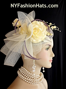 Grey Pale Yellow Rose Bud Rhinestone Sinamay Straw Wedding Bridal Fascinator, Cocktail Hats Brides Derby Formal