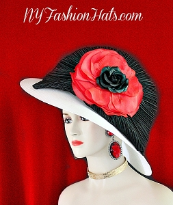 Woman's White Red Black Wide Brim Designer Dress Hat NY Fashion Hats