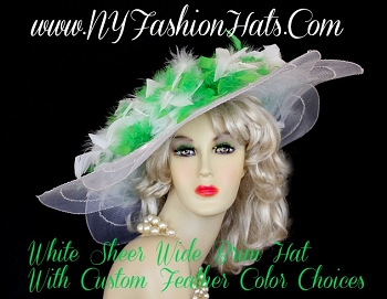 Dress Designer Hat With Lime Green White Feathers, NY Fashion Hats