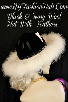 Church Hats Black Ivory Winter Wool Designer Hat With Feathers KG92