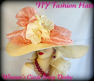 Ivory Coral Wide Brim Church Special Occasion Hat Ladies Hats 3YVW