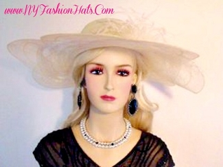 Ivory Fashion Designer Dressy Formal Ladies Hat Wide Brim Hats 9LVY
