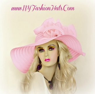 Pink Wide Brim Hat Fashion Designer Dressy Formal Ladies Hats HB98
