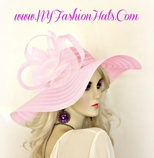 Pink Wide Brim Hat Fashion Designer Special Occasion Ladies Hats 30