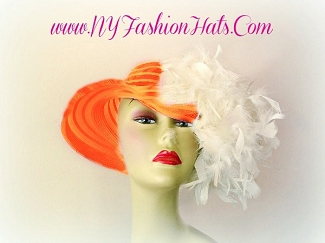Kentucky Derby Hats Orange Church Hat With Feathers NY Fashion Hats