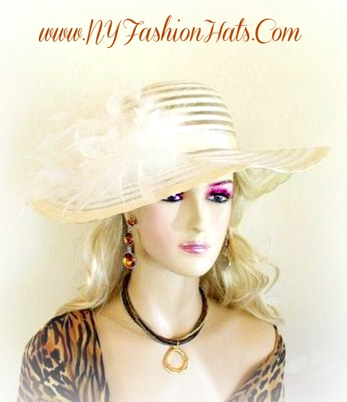 Ivory Designer Hat With Custom Hat And Feather Color Choices. This Special  Occasion Dress Hat 2b97b0ec847a