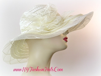 Ladies Ivory Cream White Wide Brim Church Dress Hat Designer Hats 43