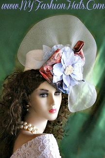 Ladies Women's Ivory Pastel Blue Pillbox Hat Designer Fashion Hats 332