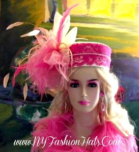 Ivory Pink Fashion Designer Dressy Formal Pillbox Hat Ladies Hats 3ZJE