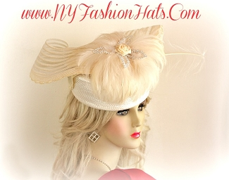Ivory Beige Ladies Pillbox Dressy Designer Fashion Hat Custom Hats