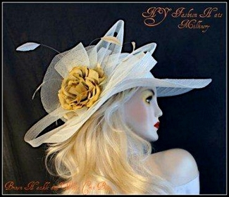 Ivory Mustard Yellow Designer Fashion Ladies Church Hat Hats  9ZQE