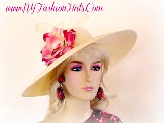 Kentucky Derby Hat, Ivory Dress Designer Hats, NY Fashion Hats