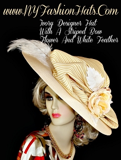 Kentucky Derby Hats, Ivory Designer Hat With A Striped Bow And Flower