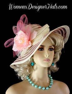 Pink Ivory Wide Brimmed Kentucky Derby Hat Fine Fashion Hats Millinery